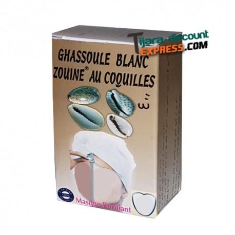 Ghassoul blanc aux coquillages cauris en poudre