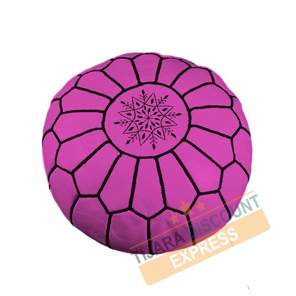 Fuchsia pink leather pouf with black arabesques
