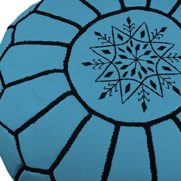 Sky blue leather pouf with black arabesques