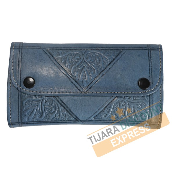 Sapphire blue leather coin purse