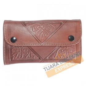 Porte-monnaie en cuir marron