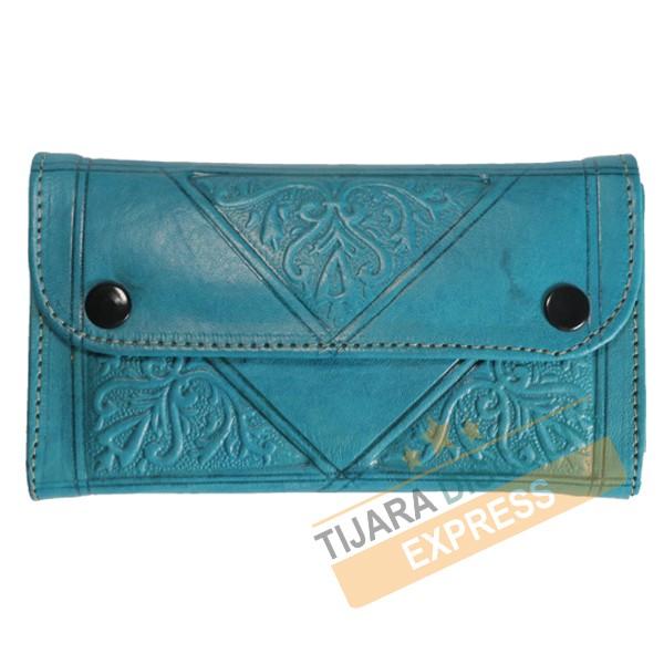 Porte-monnaie en cuir bleu turquoise