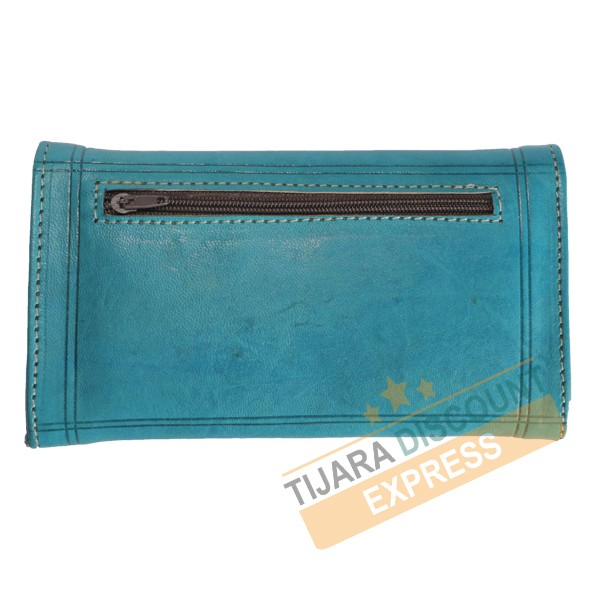 Turquoise blue leather coin purse