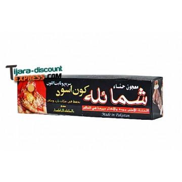 Black henna paste to the skin